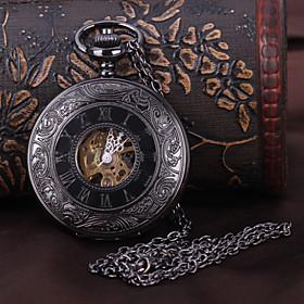 Men's Pocket Watch Mechanical Watch Automatic self-winding Luxury Hollow Engraving Analog Black / Steampunk