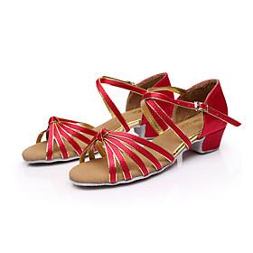 Women's Latin Shoes Sandal Low Heel Satin Leatherette Buckle Leopard / Nude / Burgundy / Ballroom Shoes / Salsa Shoes / EU40