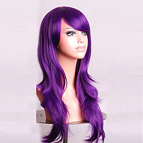 Cosplay Costume Wig Synthetic Wig Curly Natural Wave Natural Wave Asymmetrical With Bangs Wig Medium Length Long Purple Synthetic Hair Women's Natural Hairline