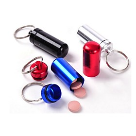 Waterproof  Small Metal Container Aluminum Pill Box Holder Keychain Medicine Packing Bottle Theme:FoodDrink; Shape:Round; Style:Modern Contemporary; Finish:Electroplated; Material:Aluminum; Net Weight:0.01,0.01; Listing Date:05/05/2016