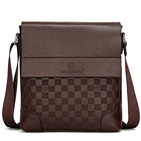 Men's Bags PU Leather Crossbody Bag Solid Colored for Shopping / Formal / Office  Career Black / Khaki / Brown