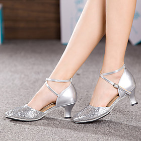 Women's Latin Shoes Sandal Heel Sneaker Cuban Heel Sparkling Glitter Paillette Synthetic Sparkling Glitter Buckle Ruched Black / Red / Silver / Indoor / EU42