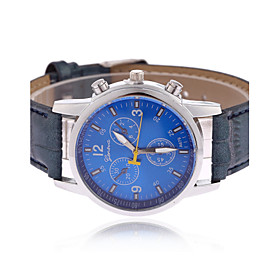 Men's Wrist Watch Aviation Watch Quartz Quilted PU Leather Black / Blue / Brown Casual Watch Analog Charm Classic - Black Brown Blue One Year Battery Life / Ti
