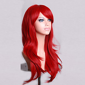 Cosplay Costume Wig Synthetic Wig Curly Natural Wave Natural Wave Asymmetrical Wig Medium Length Long Red Synthetic Hair Women's Natural Hairline Red