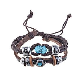 Men's Wrap Bracelet Leather Bracelet woven Unique Design Vintage Fashion Paracord Bracelet Jewelry Coffee For Christmas Gifts Party Daily Casual