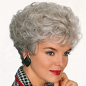 Synthetic Wig Curly Style Pixie Cut Capless Wig Gray Silver Synthetic Hair Women's Gray Wig Short Halloween Wig