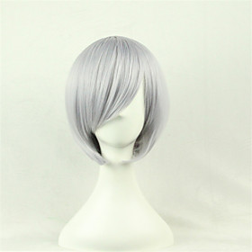 Cosplay Costume Wig Synthetic Wig Cosplay Wig Straight Straight Asymmetrical Wig Short Silver Synthetic Hair Women's Natural Hairline Gray