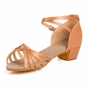 Women's Dance Shoes Latin Shoes / Ballroom Shoes / Line Dance Sandal Low Heel Non Customizable Nude / Bronze / Kid's / Leather / Satin / Leather / EU39