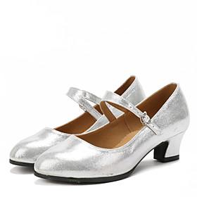 Women's Dance Shoes Latin Shoes / Ballroom Shoes / Line Dance Sandal Heel Sneaker Sparkling Glitter / Buckle / Ruched Cuban Heel Non Customizable Black / Red /