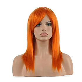 Synthetic Wig Cosplay Wig Straight Straight Wig Medium Length Orange Synthetic Hair Women's Red