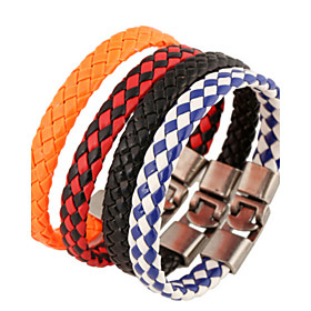 Men's Leather Bracelet Unique Design Fashion Leather Bracelet Jewelry White / Black / Black / Red For Christmas Gifts Party Daily Casual Sports