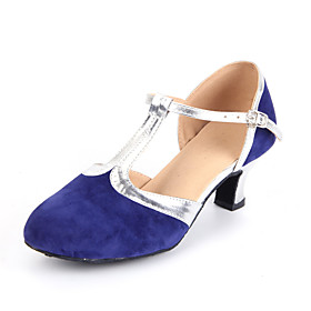 Women's Modern Shoes Heel Cuban Heel Suede Stitching Lace / Leather / EU42