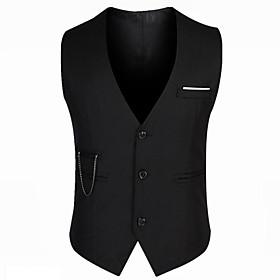 Men's V Neck Vest Regular Solid Colored Daily Work Sleeveless Black M / L / XL / Slim