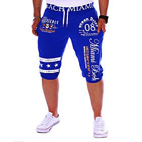 Men's Active / Basic Sports Weekend Loose / wfh Sweatpants / Shorts Pants - Letter Print Black Gray Blue L XL XXL