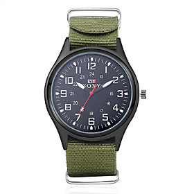 Men's Military Watch Wrist Watch field watch Quartz Charm Water Resistant / Waterproof Analog Black Green / One Year / SODA AG4