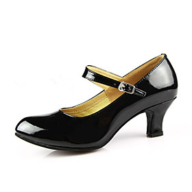 Women's Dance Shoes Modern Shoes / Ballroom Shoes / Line Dance Heel Buckle Cuban Heel Non Customizable Burgundy / Black / Red / EU40