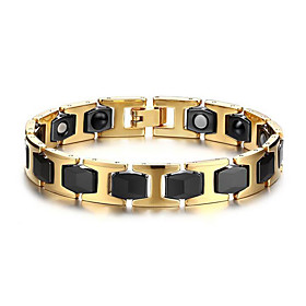 Men's Chain Bracelet Ladies European Stainless Steel Bracelet Jewelry Gold / Black For Daily Casual