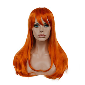 Synthetic Wig Cosplay Wig Straight Straight Wig Long Orange Synthetic Hair Women's Red