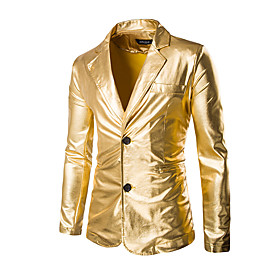 Men's Blazer Regular Solid Colored Party Holiday Club Sophisticated Exaggerated Long Sleeve Black / Gold / Silver M / L / XL / Slim