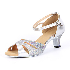 Women's Dance Shoes Latin Shoes / Ballroom Shoes / Salsa Shoes Sandal Buckle Chunky Heel Non Customizable Silver / Blue / Gold / Sparkling Glitter / Suede / Sp