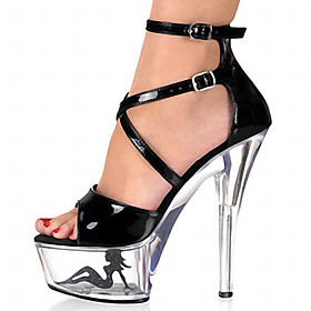 Women's Sandals Platform Sandals Plus Size Platform Club Shoes Lucite Heel Dress Party  Evening Buckle Hollow-out Patent Leather Summer Black / White / White /