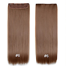 Straight Clips Synthetic Hair 22 inch Hair Extension Clip In Clip In / On Women's Daily