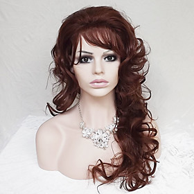 Synthetic Wig Curly Deep Wave Deep Wave Asymmetrical With Bangs Wig Long Dark Auburn Synthetic Hair Women's Natural Hairline Brown