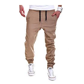 Men's Basic Sport Daily Casual Straight / wfh Sweatpants Pants - Solid Colored Cotton Spring Fall Black Gray Khaki XL XXL XXXL