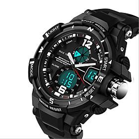 Men's Sport Watch Fashion Watch Military Watch Digital Luxury Calendar / date / day Analog - Digital White Black Yellow / Stainless Steel / Silicone / Chronogr