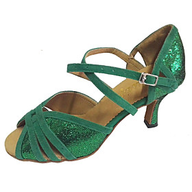 Women's Latin Shoes Sandal Customized Heel Sparkling Glitter Suede Green / Indoor / Salsa Shoes / Professional