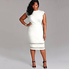 Women's Sheath Dress Knee Length Dress - Sleeveless White Solid Colored Summer Plus Size Going out Slim White Black Khaki XL XXL 3XL 4XL 5XL