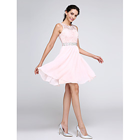 A-Line Hot Pink Graduation Cocktail Party Dress Illusion Neck Sleeveless Short / Mini Chiffon Corded Lace with Crystals 2020
