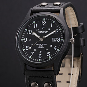 Men's Military Watch Navy Seal Watch Quartz Casual Calendar / date / day Analog Fluorescence Black Khaki / One Year / Stainless Steel / Leather / SSUO 377