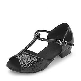 Women's Latin Shoes Sandal Low Heel Sparkling Glitter Black / Silver / Gold / Kid's / Ballroom Shoes / EU36