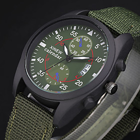 Men's Military Watch field watch Quartz Casual Calendar / date / day Analog Black Green Brown / One Year / Stainless Steel / SSUO 377