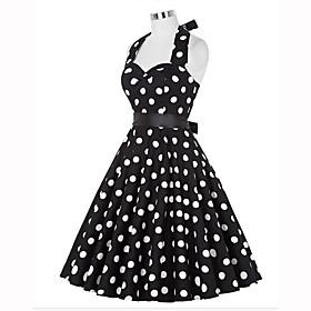 Women's A-Line Dress Knee Length Dress - Sleeveless Polka Dot Summer Halter Neck Vintage Going out White Black S M L XL XXL
