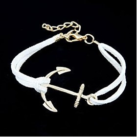 Men's Women's Couple's Chain Bracelet Anchor Personalized Leather Bracelet Jewelry White / Black / Red For Daily Casual Sports