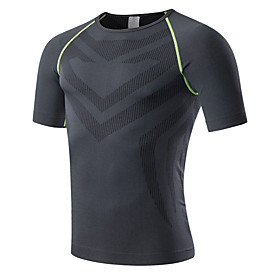 Men's Elastane Running T-Shirt Compression Shirt Crew Neck Fitness Gym Workout Workout Breathable Quick Dry Compression Sportswear Compression Clothing Top Sho
