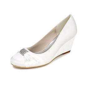 Women's Wedding Shoes Glitter Crystal Sequined Jeweled Plus Size Wedge Heel Round Toe Basic Pump Wedding Party  Evening Rhinestone Satin Summer White / Purple