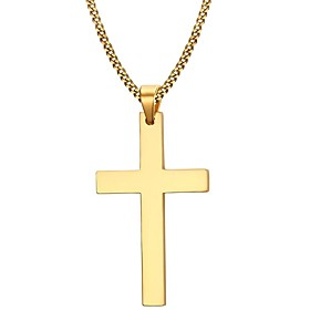 Men's Pendant Necklace Cross Ladies Simple Style Fashion Stainless Steel Gold Plated Golden Black Silver Necklace Jewelry For Christmas Gifts Party Daily Casua
