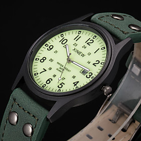 Men's Sport Watch Fashion Watch Military Watch Quartz Casual Water Resistant / Waterproof Analog Green / Leather / Calendar / date / day / Noctilucent