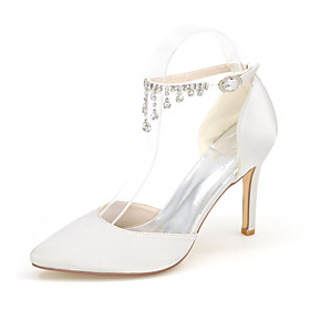 Women's Wedding Shoes Glitter Crystal Sequined Jeweled Taller - Height Increasing Elevator Shoes Pointed Toe Rhinestone / Buckle Satin Null Basic Pump Null Spr