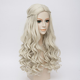 Synthetic Wig Cosplay Wig Wavy Kardashian Wavy Wig Long Very Long White Synthetic Hair Women's Middle Part Braided Wig White