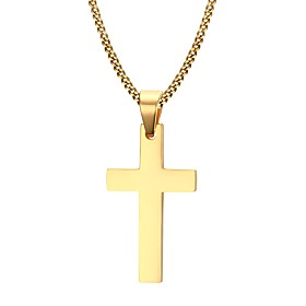 Men's Pendant Necklace Cross Ladies Personalized Fashion Stainless Steel Gold Plated Yellow Gold Golden Necklace Jewelry For Christmas Gifts Daily Casual