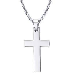 Men's Pendant Necklace Cross Ladies Personalized Basic Fashion Stainless Steel Silver Necklace Jewelry For Christmas Gifts Daily Casual Sports