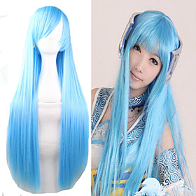 Synthetic Wig Cosplay Wig Straight Straight Wig Long Very Long Light Blue Synthetic Hair Women's Blue