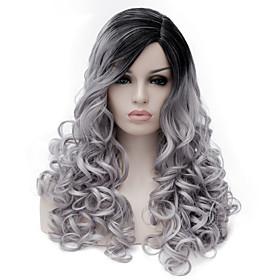 Synthetic Wig Wig Medium Length Grey Synthetic Hair Women's Gray