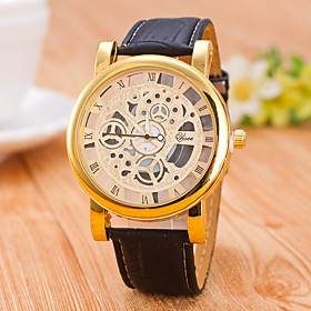 Men's Skeleton Watch Mechanical Watch Quartz Casual / Analog Black Coffee / Quilted PU Leather / One Year / Jinli 377