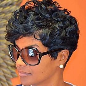Synthetic Wig Wavy Wavy Wig Black#1B Synthetic Hair Women's Black