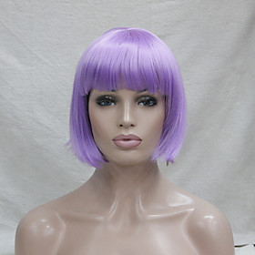 Cosplay Costume Wig Synthetic Wig Cosplay Wig Straight Straight Bob Wig Purple Synthetic Hair Women's Purple